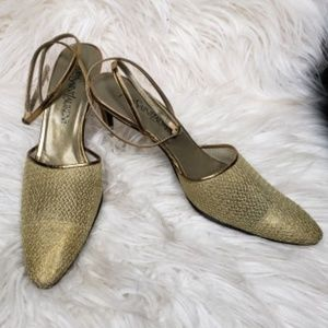 YSL Vintage heels - gold mesh sling back pumps
